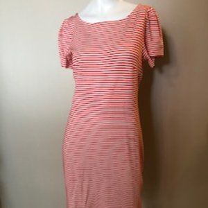Ann Taylor short sleeve strip Dress Red/Wht Sz 6P